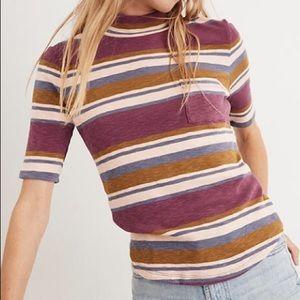 Madewell Mockneck Shirttail Striped Tee